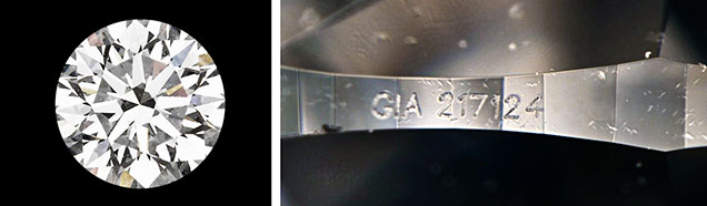 Fake GIA laser on synthetic diamond