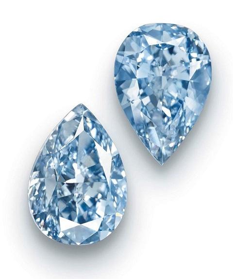 Fancy Vivid Blue Diamond Twin Stone Ring