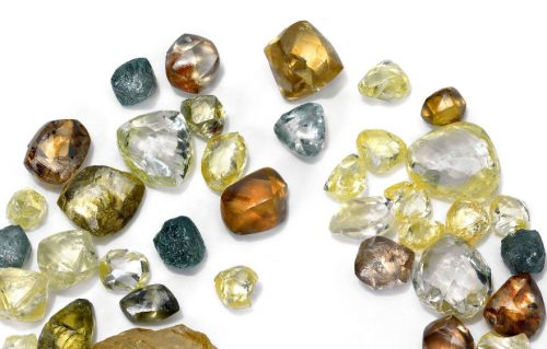 Rough uncut diamonds. Image by De Beers.