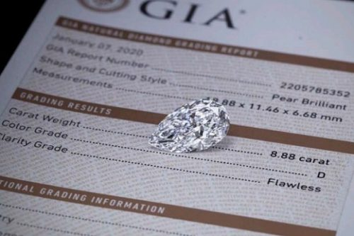 The 8.88-carat pear-shaped polished diamond from Mothae.