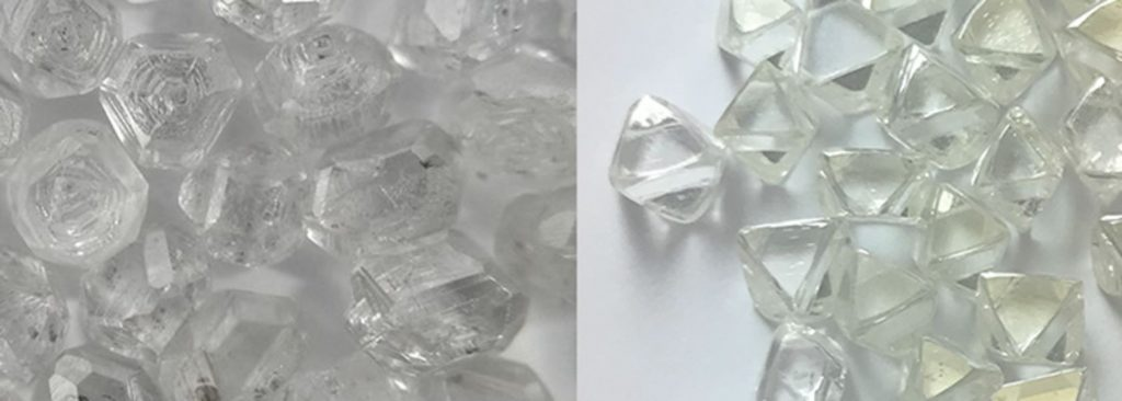 Rough lab created diamonds left and natural Rough Diamonds right